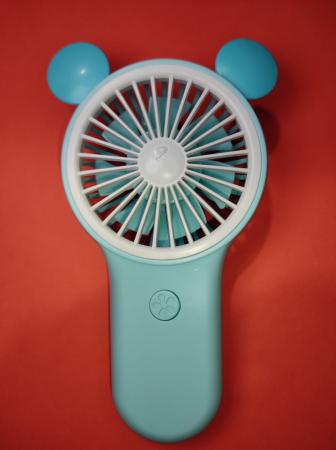 Ventilator de Mana Foarte Puternic cu Acumulator Intern si Incarcare la USB, cu Lumini LED, Premium, Albastru [4]