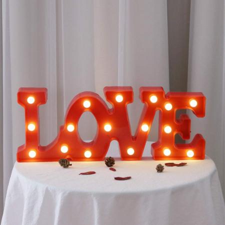 Lampa de Veghe cu Lumina Ambientala cu 11 Becuri LED Lumina Calda, Rosu - Love cu Lumini3