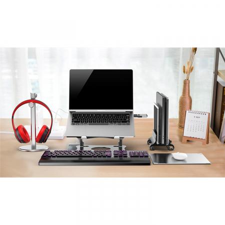 Suport pentru Laptop sau Notebook din Aluminiu, Pozitie si Inaltime Ajustabila, Portabil, Design Premium, Compatibilitate Universala0