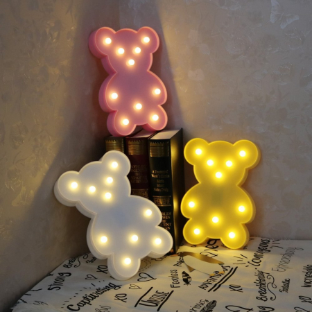 Lampa de Veghe cu Lumina Ambientala cu 10 Becuri LED Lumina Calda - Ursulet, Roz [1]
