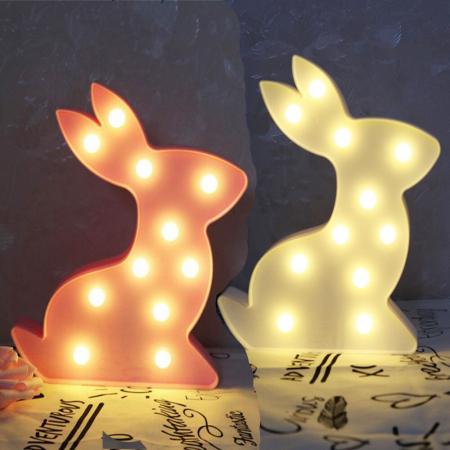 Lampa de Veghe cu Lumina Ambientala cu 11 Becuri LED Lumina Calda - Iepure, Roz [0]