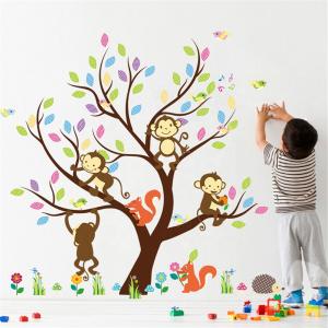 Sticker Decorativ Autocolant Autoadeziv Copac cu Maimute, Veverite, Arici si Pasari pentru Camera Copilului1