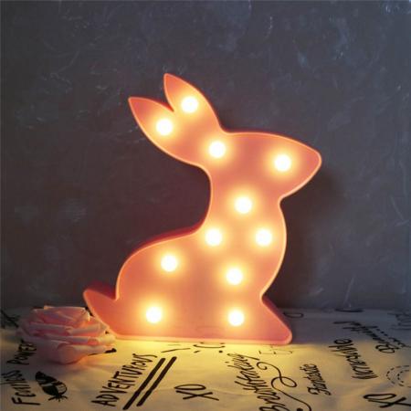 Lampa de Veghe cu Lumina Ambientala cu 11 Becuri LED Lumina Calda - Iepure, Roz [1]