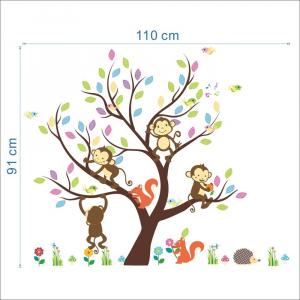 Sticker Decorativ Autocolant Autoadeziv Copac cu Maimute, Veverite, Arici si Pasari pentru Camera Copilului4