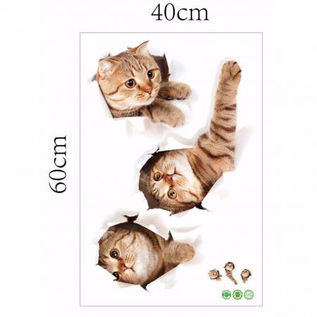 Sticker Autocolant Decorativ pentru Multiple Suprafete cu 3 Pisici Simpatice [7]