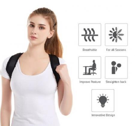 Suport de Sprijin pentru Spate si Corectarea Posturii si a Coloanei Vertebrale, Model Unisex Reglabil, Usor de Montat si  Purtat [3]