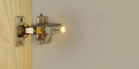 Set 2x Lampa cu Bec LED smd pentru Balamale Mobila 12V, Baterii Incluse, Universal, Gri [2]