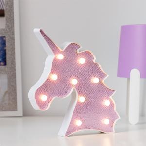 Lampa de Veghe cu Lumina Ambientala LED  - Unicorn Roz Lucios Sclipitor0