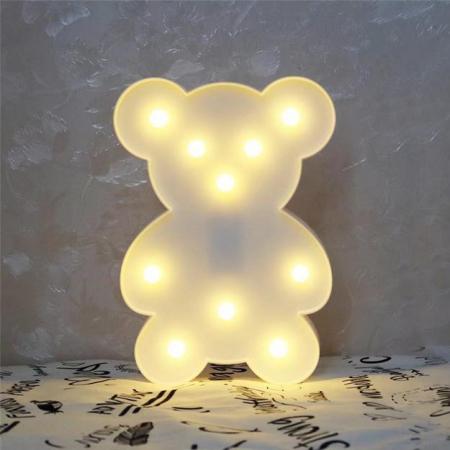 Lampa de Veghe cu Lumina Ambientala cu 10 Becuri LED Lumina Calda - Ursulet, Alb [2]