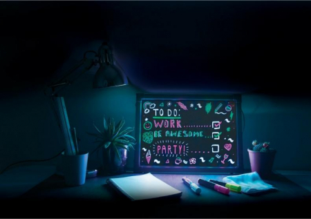 Lampa Rama cu Lumina LED Neon pentru Mesaje Fluorescente, 23 x 23cm si 3 Carioci Incluse3