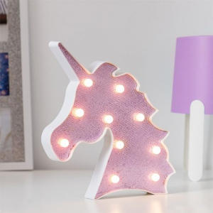 Lampa de Veghe cu Lumina Ambientala LED  - Unicorn Roz Lucios Sclipitor1