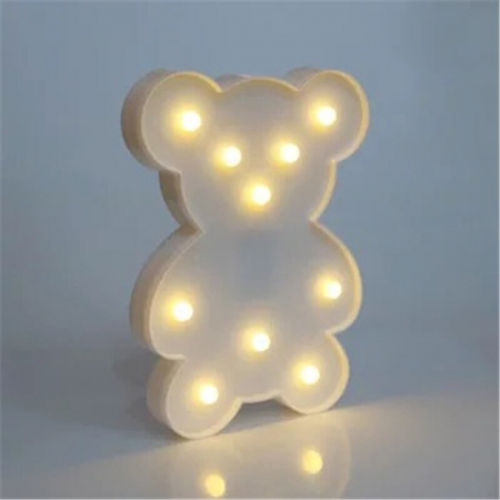 Lampa de Veghe cu Lumina Ambientala cu 10 Becuri LED Lumina Calda - Ursulet, Alb [3]