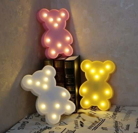 Lampa de Veghe cu Lumina Ambientala cu 10 Becuri LED Lumina Calda - Ursulet, Alb [1]