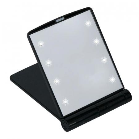 Mini Oglinda Portabila pentru Cosmetica, Make Up si Machiaj, cu 8 LED Integrate, Wireless, cu Baterie Inclusa, Negru1