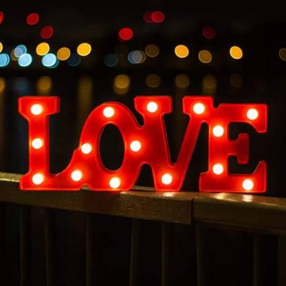 Lampa de Veghe cu Lumina Ambientala cu 11 Becuri LED Lumina Calda, Rosu - Love cu Lumini0