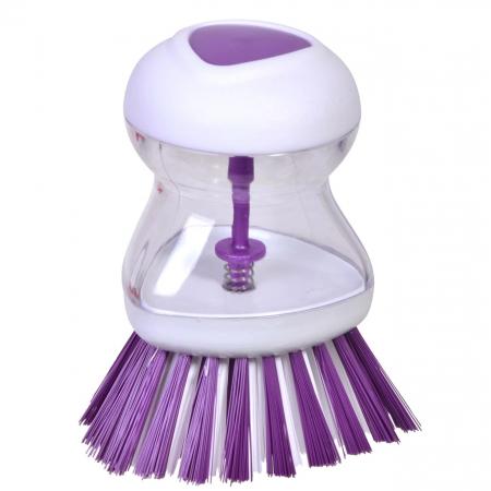 Perie pentru Spalat Vase cu Recipient pentru Detergent Lichid, Premium, Mov [2]
