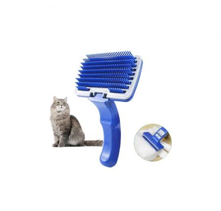 Perie pentru Pieptanat Blana Animale de Companie cu Sistem Mecanic pentru Indepartarea Firelor de Par, PVC, Premium [14]