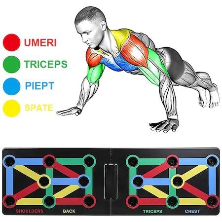 Placa Fitness pentru Antrenamente Sportive si Flotari, cu Manere pentru Tonifiere Muschi Abdominali, Piept, Biceps, Triceps, Spate, Umeri [6]