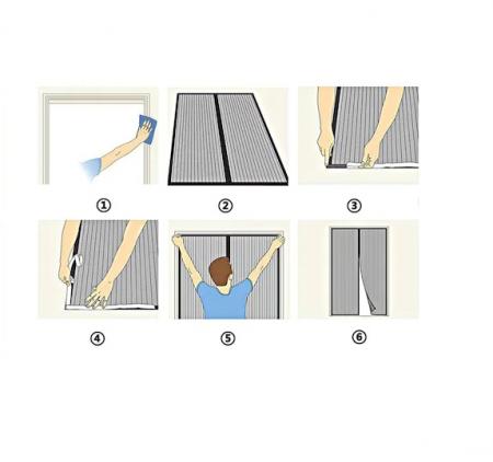 Plasa cu Magnet pentru Fereastra impotriva Tantarilor si a Insectelor Zburatoare, 120 x 120cm, Alb [2]