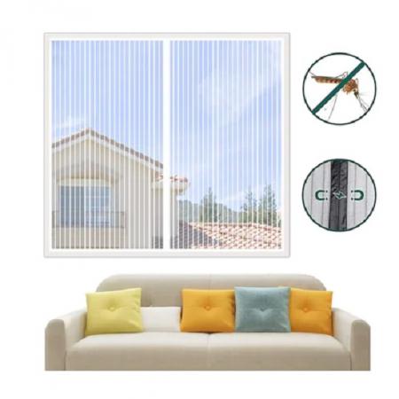 Plasa cu Magnet pentru Fereastra impotriva Tantarilor si a Insectelor Zburatoare, 120 x 120cm, Alb [3]