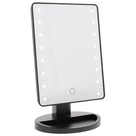 Oglinda de Masa pentru Make Up si Machiaj, cu 16 LED Integrate, Wireless, cu Baterii, Buton On/Off, Premium, Negru4