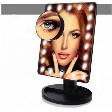 Oglinda de Masa pentru Make Up si Machiaj, cu 16 LED Integrate, Wireless, cu Baterii, Buton On/Off, Premium, Negru8