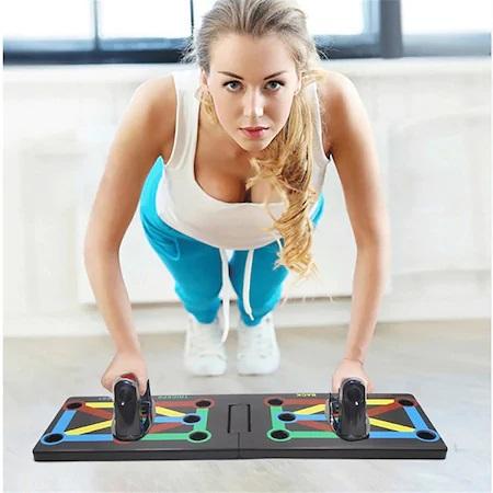 Placa Fitness pentru Antrenamente Sportive si Flotari, cu Manere pentru Tonifiere Muschi Abdominali, Piept, Biceps, Triceps, Spate, Umeri [0]