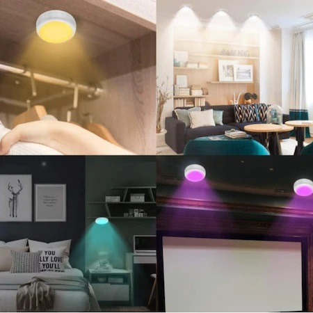 Set 2 Spoturi pentru Lumina Veghe, Becuri LED cu Telecomanda pentru Reglajul Culorilor, cu Baterii, Alb1