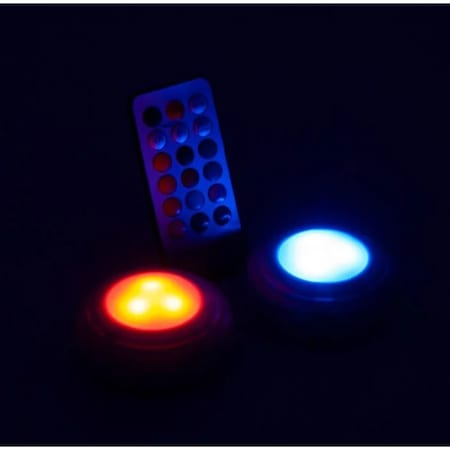 Set 2 Spoturi pentru Lumina Veghe, Becuri LED cu Telecomanda pentru Reglajul Culorilor, cu Baterii, Alb [3]