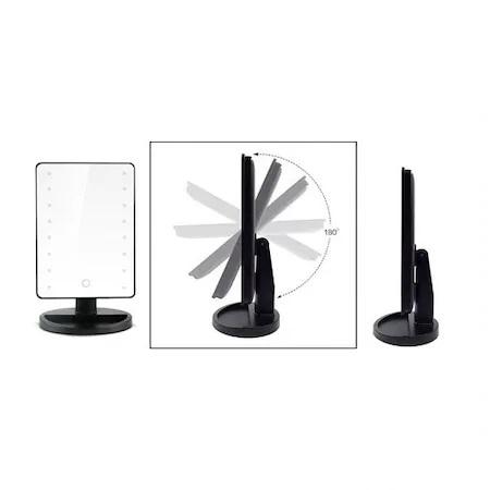 Oglinda de Masa pentru Make Up si Machiaj, cu 16 LED Integrate, Wireless, cu Baterii, Buton On/Off, Premium, Negru0