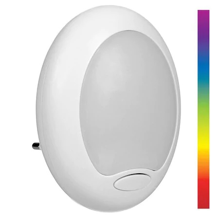 Lampa de Veghe cu Senzor de Lumina in 6 Culori, pentru Priza, Consum Redus 1.8W, Universal, Alb [0]