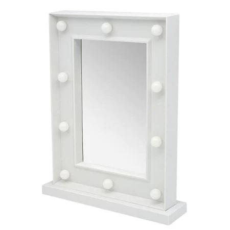 Oglinda de Masa cu 10 Becuri LED, Wireless, cu Baterii pentru Make Up si Machiaj, Buton On/Off, Premium 30cm x 37.5cm2