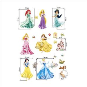 Set Sticker Autocolant 7 Printese Ariel, Rapunzel, Alba ca Zapada, Jasmine, Cenusareasa, Frumoasa din Pardurea Adormita, Frumoasa si Bestia, Bell5
