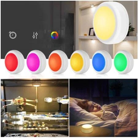 Set 2 Spoturi pentru Lumina Veghe, Becuri LED cu Telecomanda pentru Reglajul Culorilor, cu Baterii, Alb0