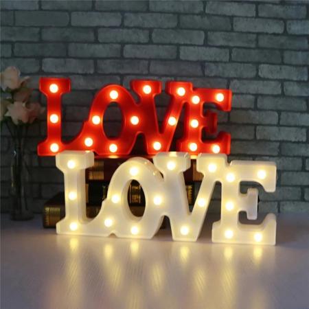 Lampa de Veghe cu Lumina Ambientala cu 11 Becuri LED Lumina Calda, Rosu - Love cu Lumini8