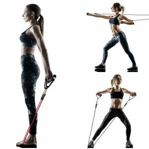 Extensor Fitness cu Corda Elastica din Latex pentru Tonifiere Muschi Piept, Brate, Spate, Abdomen, Picioare [0]