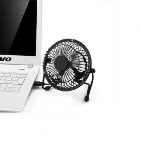 Ventilator de Birou si Masa, Metalic cu Alimentare prin USB, Negru, Diametru 13 cm, Premium [0]