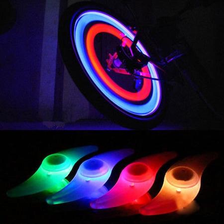 Set 2 Lumini LED pentru Spite Bicicleta, Multicolor cu 3 Moduri de Iluminare, Impermeabile [0]