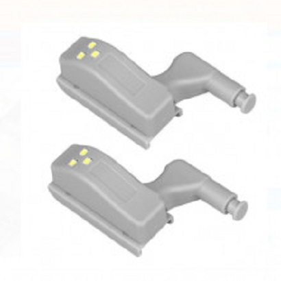 Set 2x Lampa cu Bec LED smd pentru Balamale Mobila 12V, Baterii Incluse, Universal, Gri [10]