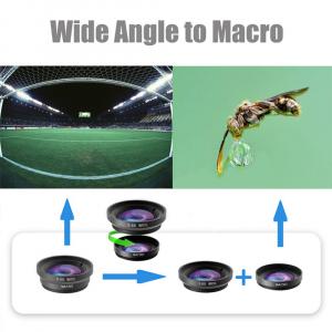 Set Lentile Profesionale 3in1 pentru Telefon sau Tableta 180 Fisheye, 10X Macro Lens, 0.65X Wide Angle Lentila Foto Video Lentile Foto Video Lentile pentru telefon Fisheye [11]