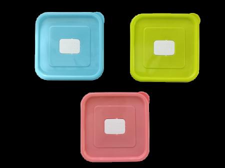 Set 3 Caserole din PVC pentru Depozitat si Transportat Alimente, 14x14 cm, Multicolor [2]