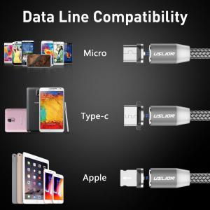 Cablu USB Textil Fast Charge cu Mufa Magnetica 360° - USLION36