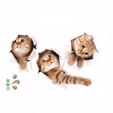 Sticker Autocolant Decorativ pentru Multiple Suprafete cu 3 Pisici Simpatice [8]