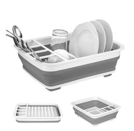 Suport de vase Multifunctional cu Sita pentru Scurgere si Sistem pentru Stocare Tacamuri, Pliabil, Premium din Silicon [8]