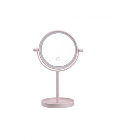 Oglinda de Masa pentru Machiaj si Make Up, cu Lumina LED Integrata, Wireless, cu Baterii, Buton Touch Screen On/Off, Premium, Roz [6]