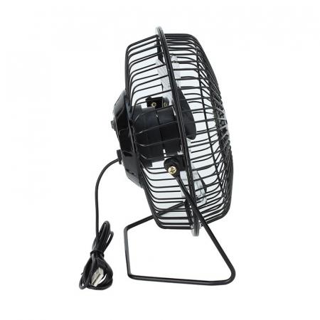 Ventilator de Birou si Masa, Metalic cu Alimentare prin USB, Negru, Diametru 13 cm, Premium [4]