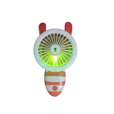 Ventilator de Mana Foarte Puternic cu Acumulator Intern si Incarcare la USB, cu Lumini LED, Pliabil, Premium, Portocaliu [6]