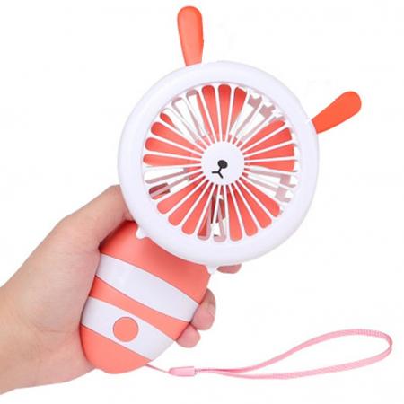 Ventilator de Mana Foarte Puternic cu Acumulator Intern si Incarcare la USB, cu Lumini LED, Pliabil, Premium, Portocaliu [0]