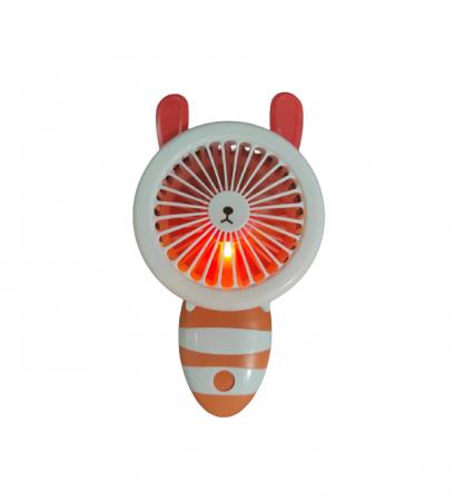 Ventilator de Mana Foarte Puternic cu Acumulator Intern si Incarcare la USB, cu Lumini LED, Pliabil, Premium, Portocaliu [4]
