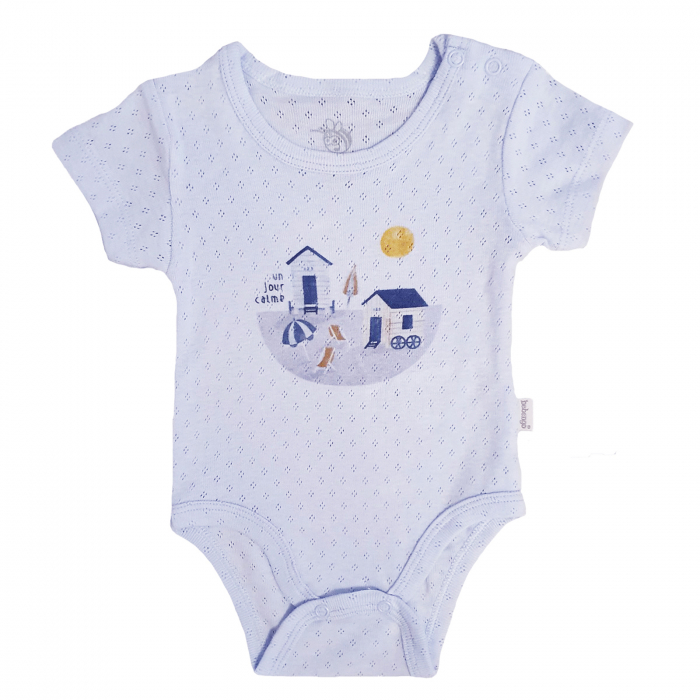 Body bebelusi maneca scurta imprimeu plaja 0-6 luni bumbac 0